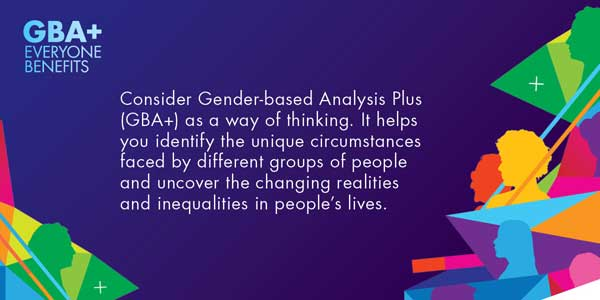 Consider Gender-based Analysis Plus (GBA+) as a way of thinking.