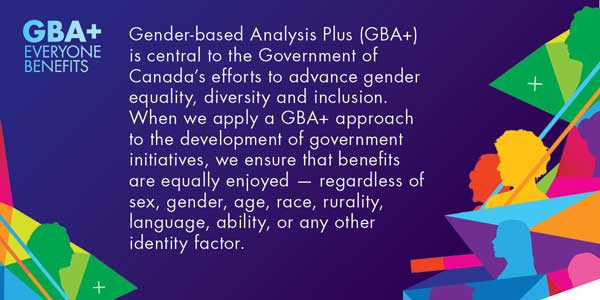GBA+ is central to the Government of Canada's efforts to advance gender equality, diversity and inclusion